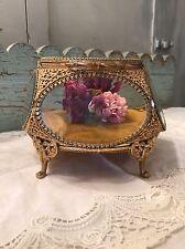 "Beautiful Antique Ormolu Gold Gilded Jewelry Casket Beveled Glass Panels 7 1/2"""