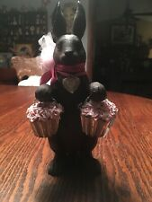 Chocolate Color Easter Bunny With Flowers