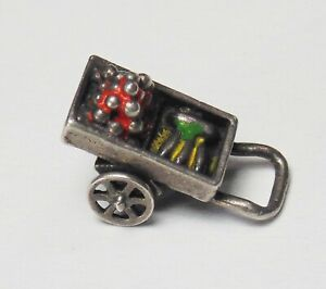Vtg Sterling Silver Enamel FRUIT CART Food Wagon Moves Bracelet Charm Pendant