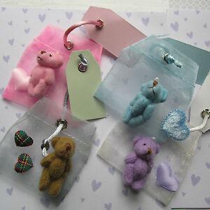 Send a Message Teddy Bear in Organza Sac Etiquette Stay Safe/Memory/Keepsake
