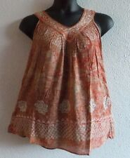 Top Fits XL 1X 2X Plus Tunic Burnt Orange Batik Cotton V Neck Long Tank NWT 756
