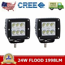 2X 3inch 24W CREE Led Work Light Lamp Cube Flood Beam Offroad SUV ATV Truck Fog