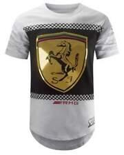 New Men White Longline Gold Foil Cars racing T-shirt Sizes S-3XL