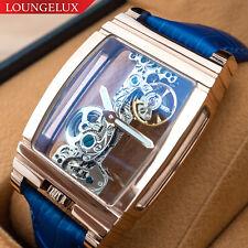 Mens Rose Gold Bridge Manual Mechanical Watch - Blue Leather DIASTERIA 1688