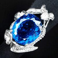 INTENSE SWISS BLUE TOPAZ RING OVAL 34.70 CT.SAPPHIRE 925 STERLING SILVER SZ 6.25