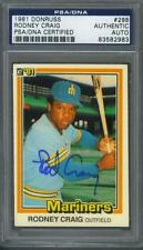 Rodney Craig signed Seattle Mariners 1981 Donruss baseball card Psa