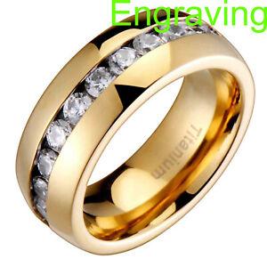 Titanium Gold Ion Dome Top High Polish Round Cubic Zirconia Men's Wedding Ring