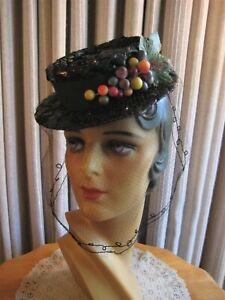 JAUNTY 40'S BLACK CHIP STRAW TILT HAT W/COLORFUL BERRIES & VEIL