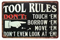 TOOL RULES Tin Metal Sign Rustic Look .. MAN CAVE