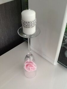 SINGLE GLASS CANDLE HOLDER MOTHERS DAY GIFT PINK ROSE FLOWER & DIAMANTE CANDLE