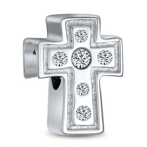 Dainty Cross Religious White CZ Heart Charm Bead 925 Sterling Silver