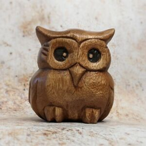Plump Owl Made From Acacia Wood Hand Carved Thai Owl