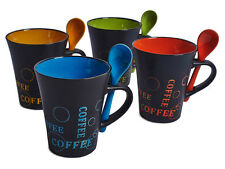 Livivo 4 X Juego De Té Café Taza W cuchara beber café con leche Tazas Espresso Cocina De Cerámica