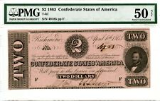 1863  $2  Confederate Currency  T-61   PMG 50
