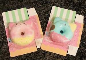 Puni Maru Jumbo Kitty Animal Donut Squishy Set Bundle Of 2 Pink & blue Scented