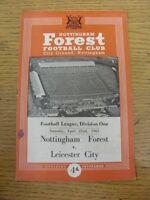 22/04/1961 Nottingham Forest v Leicester City  (Light Fold, Marks & Score Noted