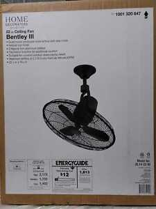 """Home Decorators Bentley III 22"""" Natural Iron Oscillating Ceiling Fan with Remote"""