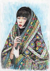 original drawing A4 226GM art samovar Colored Pencil female portrait Asian