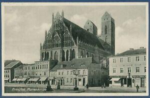 Prenzlau Königstraße mit Marienkirche Geschäfte, gelaufen 1931 (AK3932)