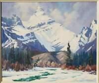 "Listed Canadian Artist Reginald Llewellyn Harvey Banff Alberta 24""X20"" Oil Paint"