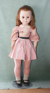 "1961 McCALL CORP HARD PLASTIC REDHEAD SLEEPY EYES 29"" GIRL DOLL,ORIGINAL CLOTHES"