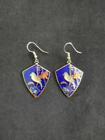 Faux Cloisonne Gold Toned Blue Tropical Bird Lily Orchid Dangle Earrings Vintage