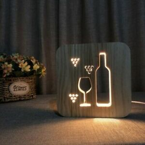 Wooden LED Night Light USB Plug Bedside Room Table Lamp Decoration Accessories