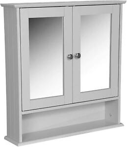 New White / Grey Wooden Furniture Bathroom Double Mirror Cabinet