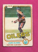 1981-82 OPC # 107 OILERS JARI KURRI ROOKIE CREASED CARD (INV# D1422)