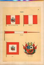 1899 2 PG Peru Coat Of Arms President's Ensign Navy War Maritime Ship Flag PRINT