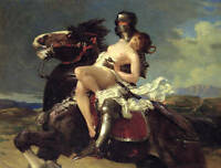 Huge oil painting portraits horseman Knight cavalier hijack Rape young girl 36""