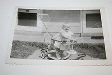 Vintage 1940s Child BABY on Stroller Original Black & White Photograph Rare