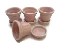 Set of 4 Pink  Pots and  Saucer Dollhouse Miniatures  Supply Garden Outdoor