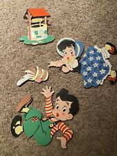 Vintage 1950's Jack and Jill Nursery Wall Decor Plaques, Thick Pressed Cardboard