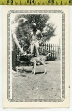 Vintage 1940's DEER photo / Darling Baby Fawn is Bottle Fed by Soldier's Wife