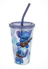 Disney Parks Lilo & Stitch Guitar Acrylic Tumbler Mug Cup Blue Adorable W/ Straw