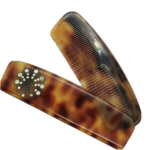 Vintage Comb with Case French Faux Tortoise Root Beer Shell Signed Hand Made