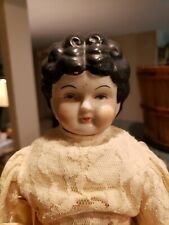 Antique Japan China Shoulder Head Doll with Molded Black Hair.  Marked No. 5