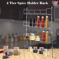 HOT 4 Tier Kitchen Spice Rack Cabinet Organizer Wall Mount Storage Shelf Holder
