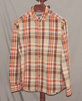 The North Face size M Orange Brown Plaid Long Sleeve Button Front Shirt