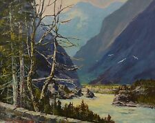 "Rudolph Anton Messner 1912-97 Oil 24x30"" Painting Fraser River Canadian Listed"