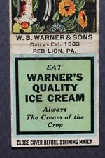 1930-40s Era Red Lion,Pennsylvania Warner's Quality Ice Cream matchbook-Vintage!