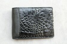 Genuine Alligator ,Crocodile Leather Skin Men's Money Clip Wallet Black