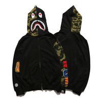A Bathing Ape Bape Jaw Jacket Camo Full Bape Shark Zipper Hoodie Sweats Coat New