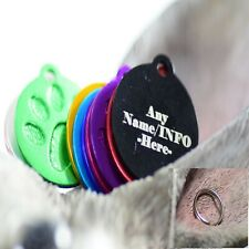 Personalised Pet Tags Engraved Dog Cat Charm Name Collar Animal ID Neck paw roun