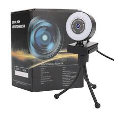 1080P HD USB Webcam Auto-Focus Web Camera w/ Ring Light + Mic for Laptop Desktop