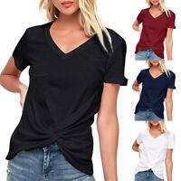 Women Summer Casual Knot Short Sleeve O Neck Tunic Shirt Tops Blouse Up
