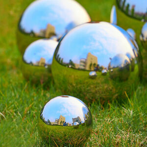 Stainless Steel Silver Mirror Sphere Hollow Ball Home Garden Ornament Decor
