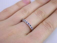 Wedding Band Ring Guard 5 6 7 18K White Gold Diamond Sapphire Milgrain Eternity