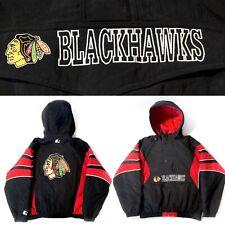 VTG 90s CHICAGO BLACKHAWKS Starter Jacket Men's XL 1/2 Zip hooded NHL EUC puffy
